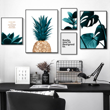 Nordic Green Leaf Plants Pineapple Art Posters And Prints Modern Wall Canvas Painting Pictures Unframed