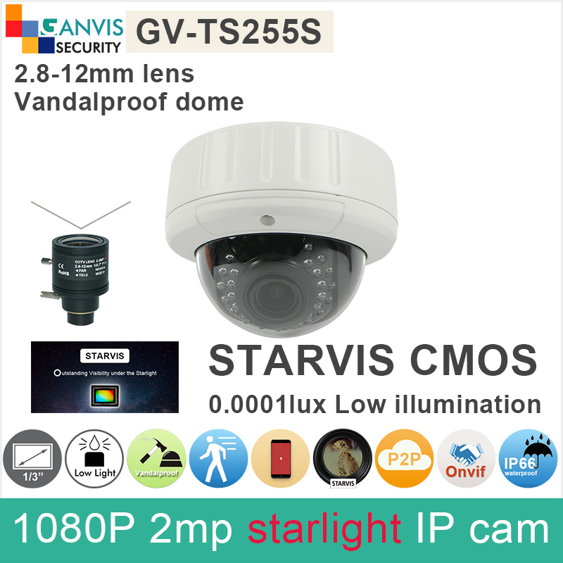 0.0001lux SONY IMX291 STARVIS CMOS 2mp IP camera outdoor dome IR waterproof 1080P full hd cctv camera onvif P2P GANVIS GV-TS255S sony starvis built in heater poe cable kit ip camera 1080p full hd 2mp starlight cctv camera outdoor dome ganvis gv ts255vh pk