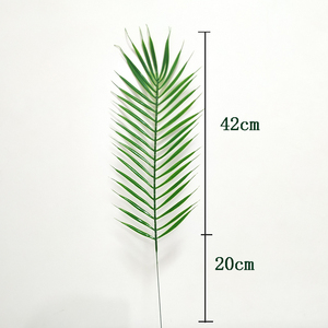Image 3 - 20pcs Plastic Artificial Palm Tree Leaves Branch Green Plants Fake Tropical Leaf Home Wedding Decoration Flower Arrangement