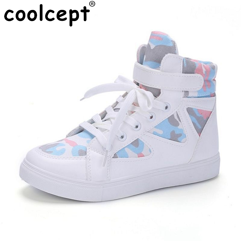 Coolcept Women Causal Flats Sneaker Shoes Woman Mixed Color Patchwork Cross Strap Flats Shoes Woman Chic Footwears Size 35-40