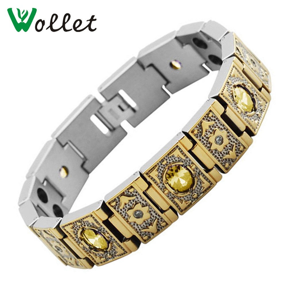Wollet Jewelry Set Gold Titanium Bio Magnetic Bracelet Necklace Women Men CZ Stone 5 in 1 Germanium Tourmaline Infrared Crystal