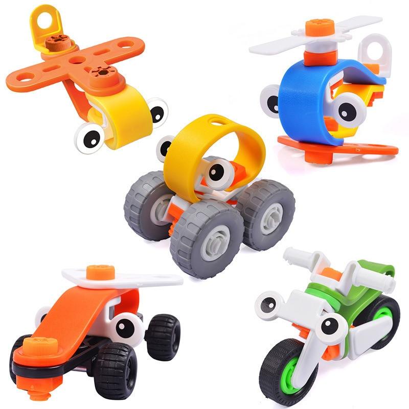 DIY Install Model Plastic Assemble Car Robot Toy Vehicle