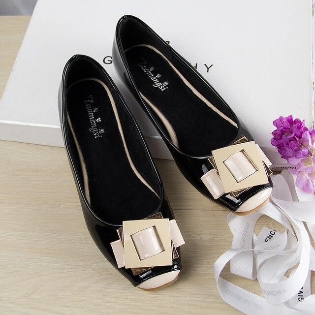 אופנה נעליים שטוחות לנשים חמוד כיכר הבוהן נשים ופרס עור מפוצל נעלי אישה דירות גדול גודל בלט נעל אישה 35 42