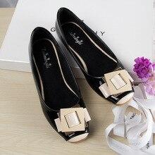 Mode Flache Schuhe Für Frauen Nette Karree Frauen Müßiggänger PU Leder Schuhe Frau Wohnungen Große Größe Ballett Schuh Frau 35 42