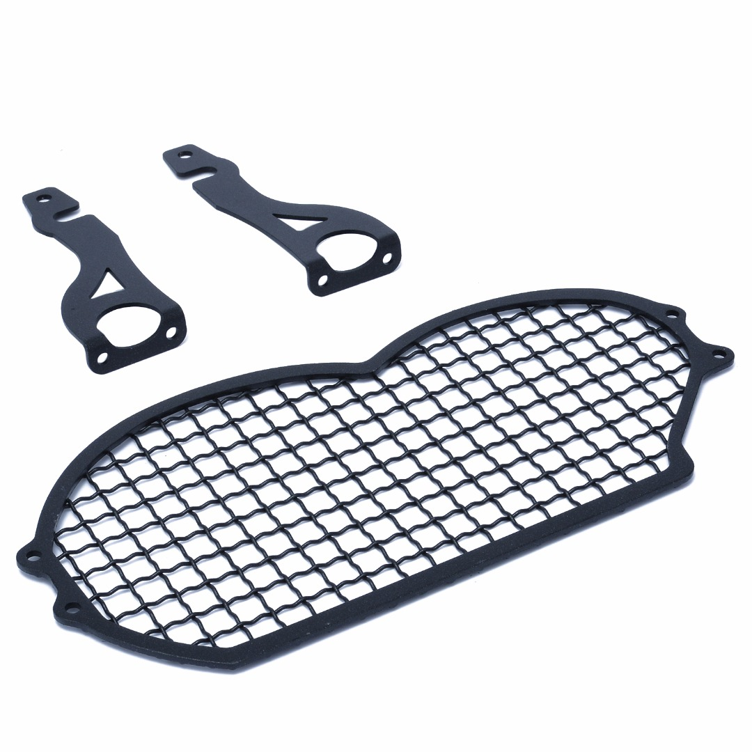 Motorcycle Accessories Steel Grid Grille Headlight Lamp Protector Guard Lense Cover Holder Set Kit For BMW