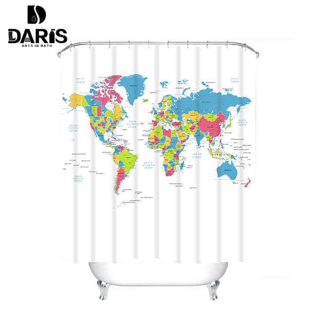 Creative Fabric Shower Curtain World Map Bathroom Waterproof Not Transparent Classic Designer Model Bath