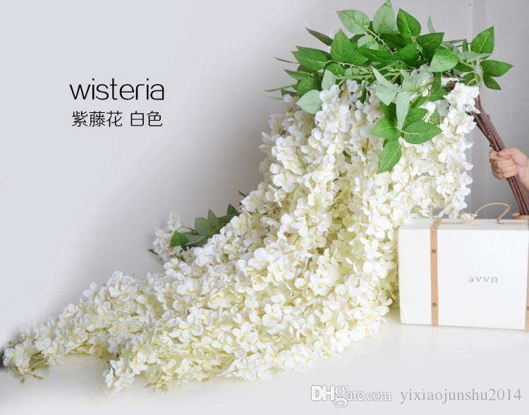 Aliexpress buy extra long white artificial silk hydrangea white green purple color 16 meter long artificial silk flower vine wisteria garland fake plants for mightylinksfo
