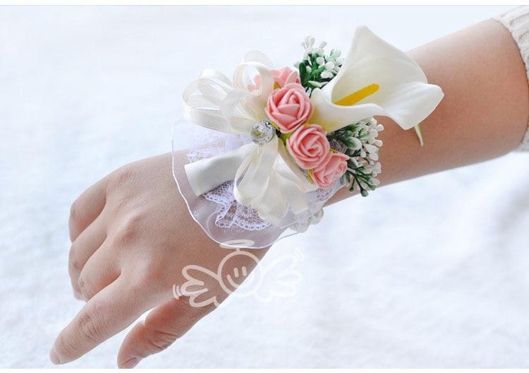 white wedding wrist corsage boutonnieres roses  (9)