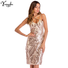 0e9e65f60b0 New Style Summer Bodycon Gold Sequin Dress Women Sleeveless V-neck Backless  Sheath Slim Sexy