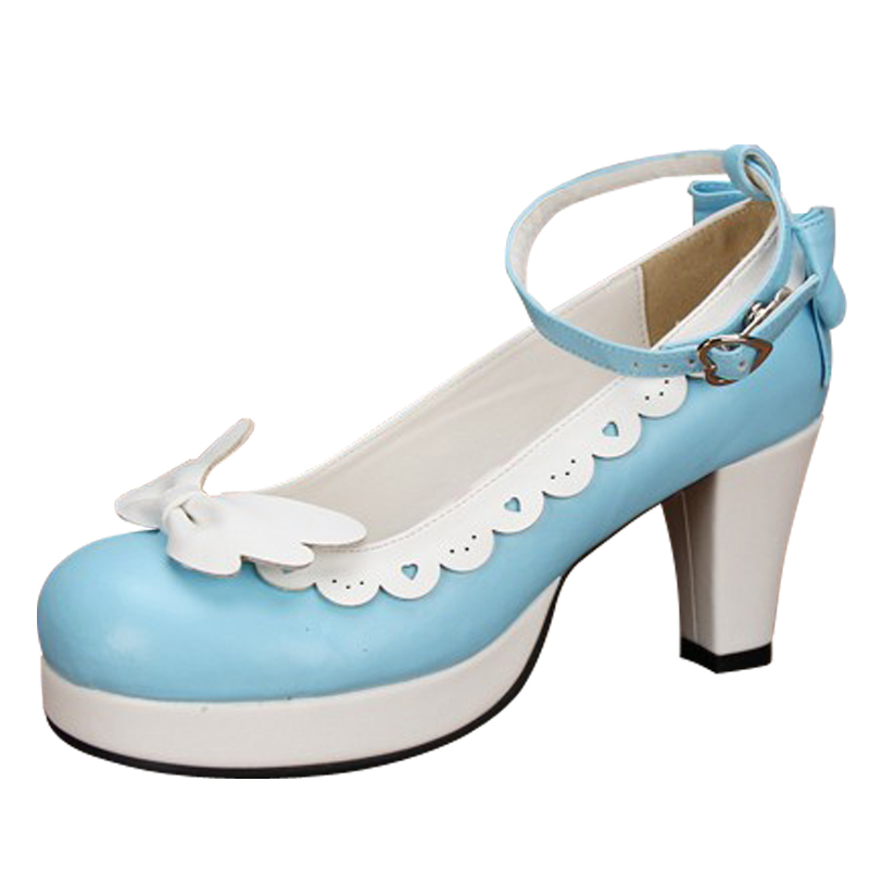 10 Colors Plus Size 34~44 Lolita High Heels Dress Pumps Cosplay Shoes Sweet Cute Girl Shoes Spring Autumn L5368 eur 34 44 angelic imprint zapatos mujer lolita cosplay punk pumps high boots princess sweet girl s pumps black women s shoes