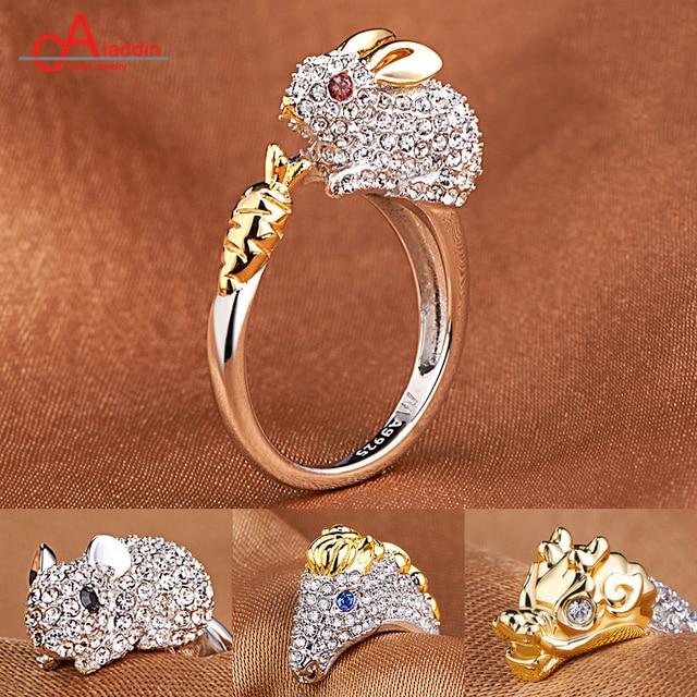 e896b7d250f3 Aladdin Chapado en plata anillo abierto de zircon de joyería de oro Anillos  De Compromiso dragón