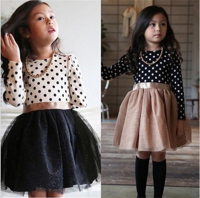 Long Sleeves Girl Dress Autumn Black White Dot Dresses For Girls