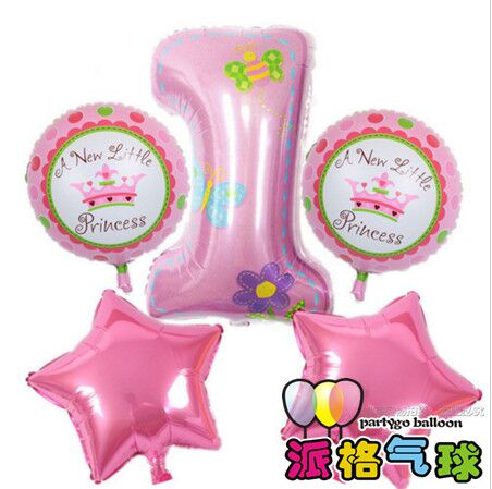 Baby children birthday party balloon gift bule/ pink number 1 balloon birthday party decorations kids Baby 1th birthday balloons