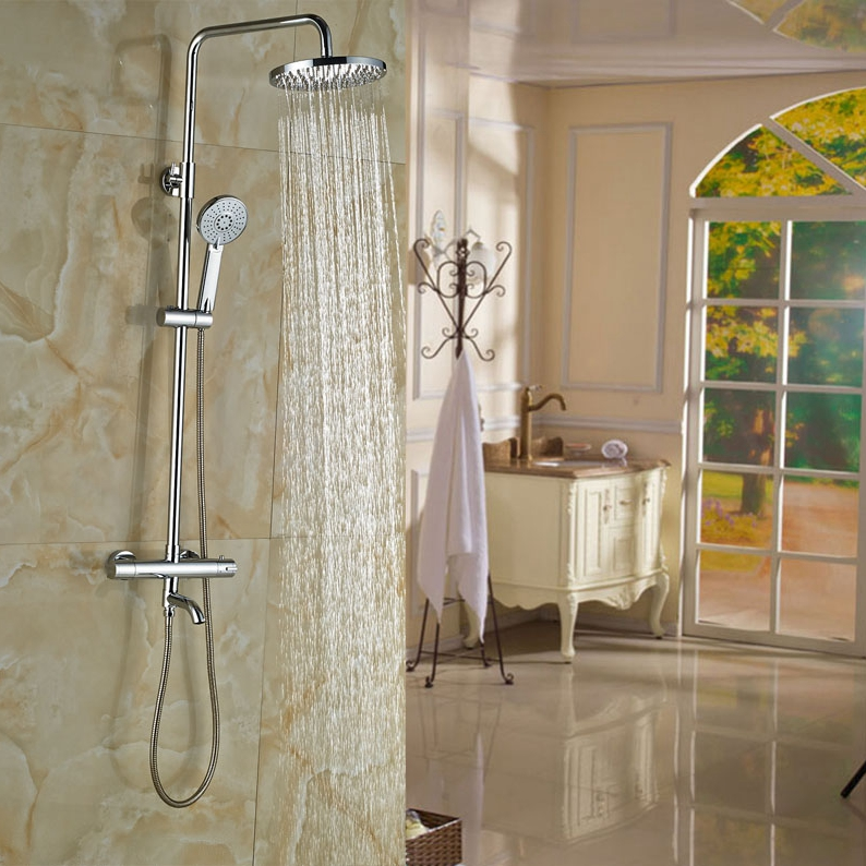 Double Handles Bathroom 8 in Rainfall Shower Faucet Thermostatic ...