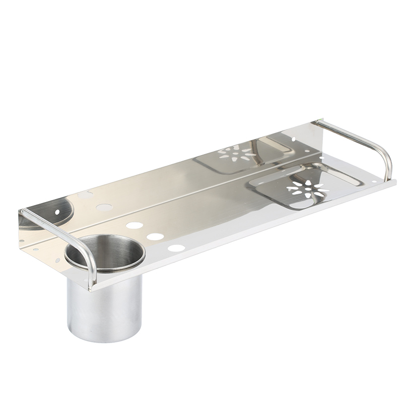 Wall Mount Stainless Steel Bathroom Shelf Single Layers Storage Basket Shower Room Bathroom
