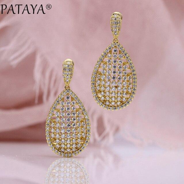 0c05115655 US $19.9 20% OFF|PATAYA New Wedding Luxury Stud Earrings Women Cute Fashion  Jewelry 585 Rose Gold Water Drop Shape Natural Zircon Long Earrings-in ...