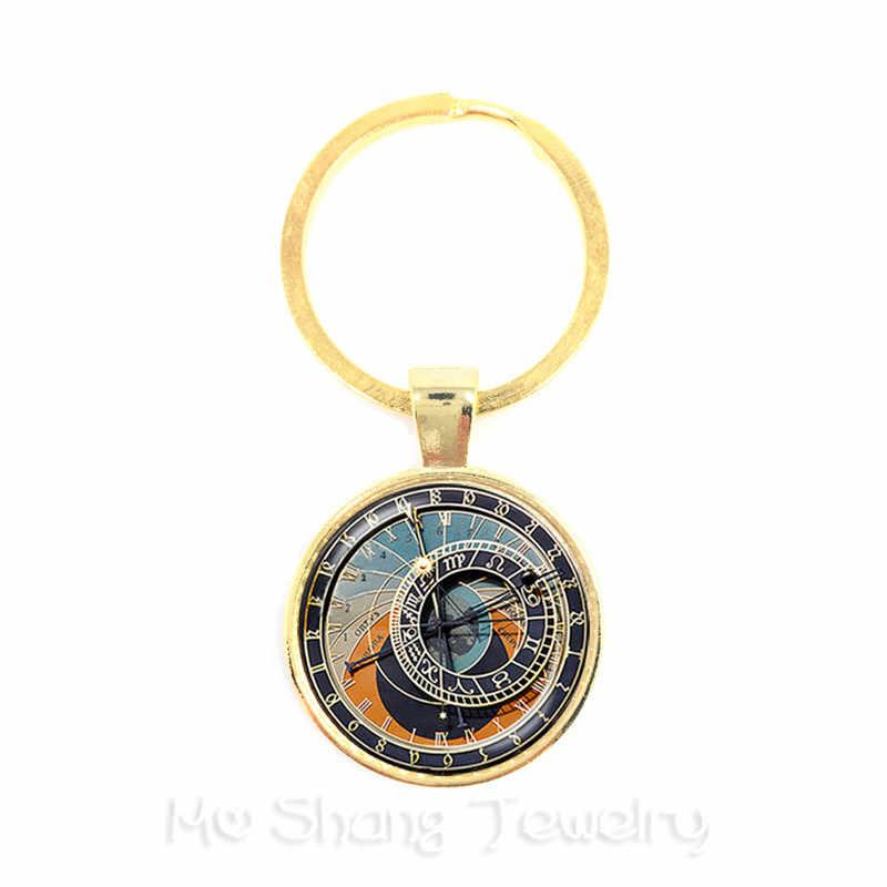 12 زودياك ساعة المفاتيح الزجاج كابوشون كوكبة حلقة رئيسية زجاج قبة مجوهرات مفتاح حامل عيد ميلاد ، علامة نجمة ، ابراج Gif