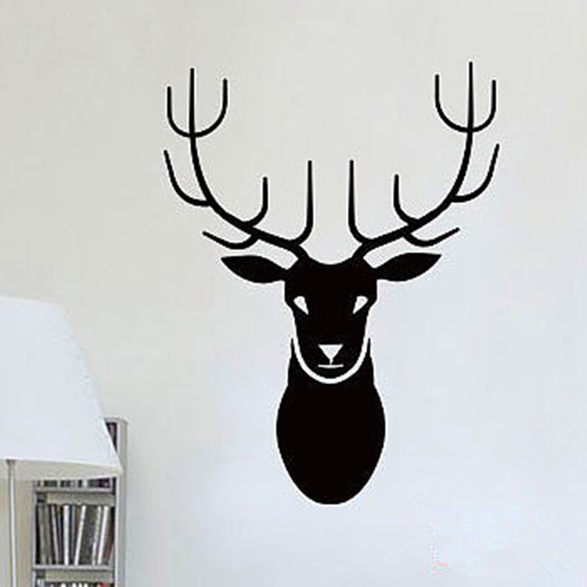 CaCar New Design Deer Head Wall Decals Abstract Animal Series - Custom vinyl wall decals deer