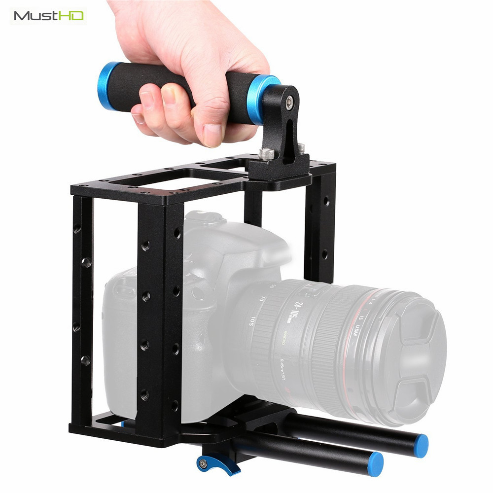 MustHD Camera Video Cage Rig Universal Mounting Aluminum Alloy Filmmaker Making Kit for ANY DSLR Canon Nikon Panasonic Sony A7/9 viltrox yb 3m 3m professional extendable aluminum alloy strong camera video crane jib arm stabilizer for canon nikon sony dslr