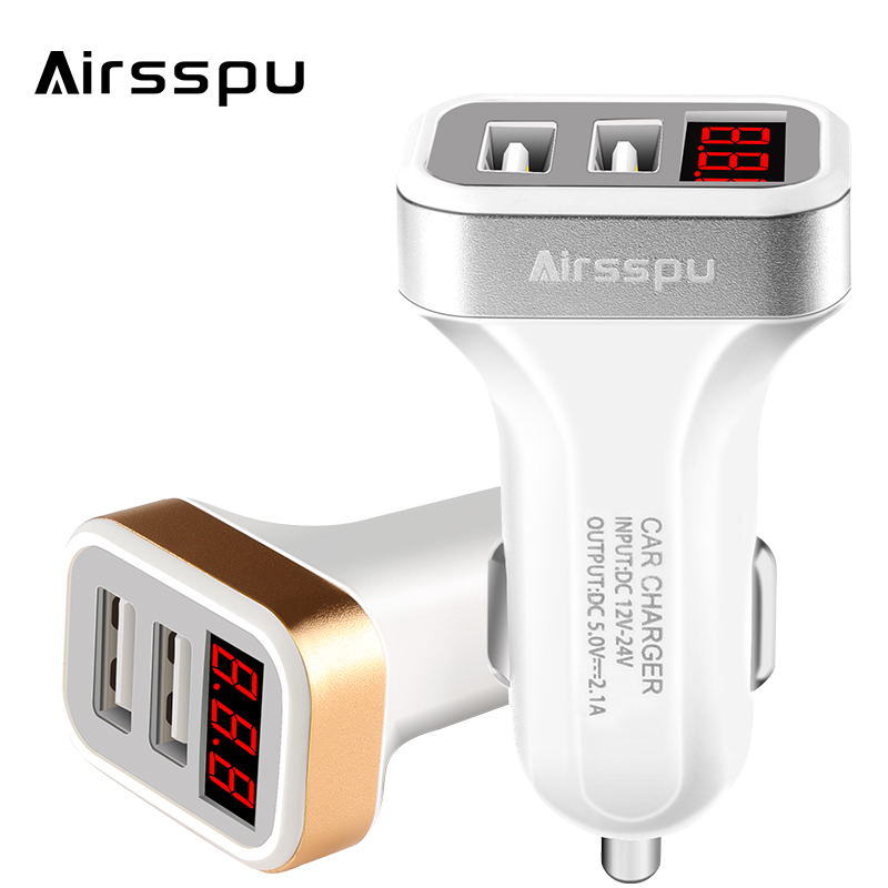 Airsspu Dual USB Car Charger 5V 2.1A LED Screen Car-Charger Adapter Charging for iPhone Samsung Tablet Protect Voltage Warning