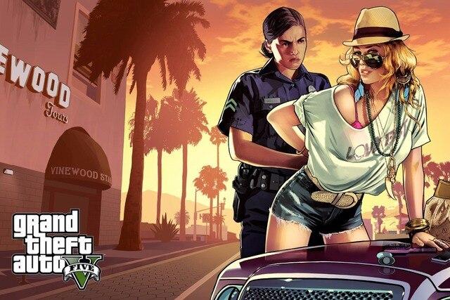 Wand Bilder Grand Theft Auto V Art Silk Print Stoff Poster Game