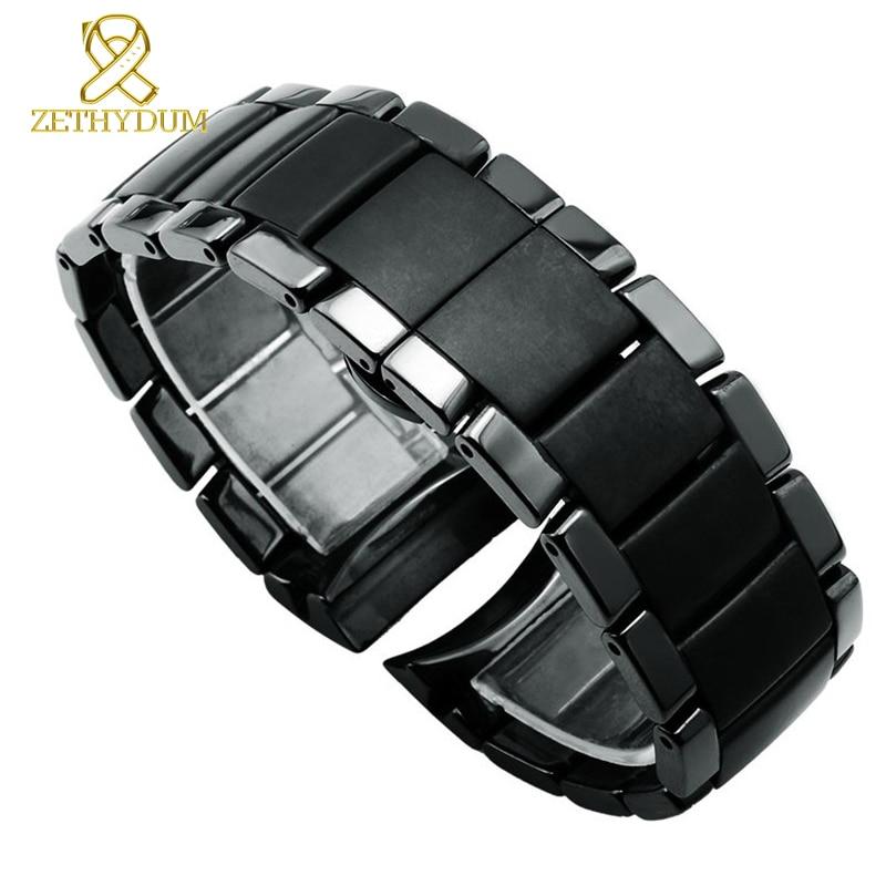 Ceramic Watchband Matt Watch Strap Black Bracelet Wristwatches Band 22 24mm Butterfly Buckle Watch Case Belt For AR1451 AR1452