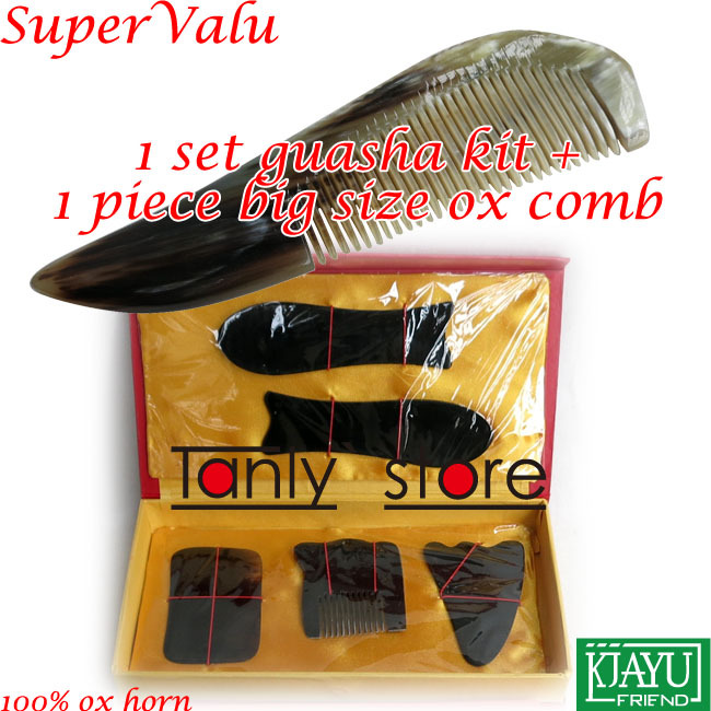 100% ox horn! Traditional Acupuncture Massager tool gift box Gua Sha beauty kit 5pcs/set  +1pcs guasha chart +1pcs big comb недорого