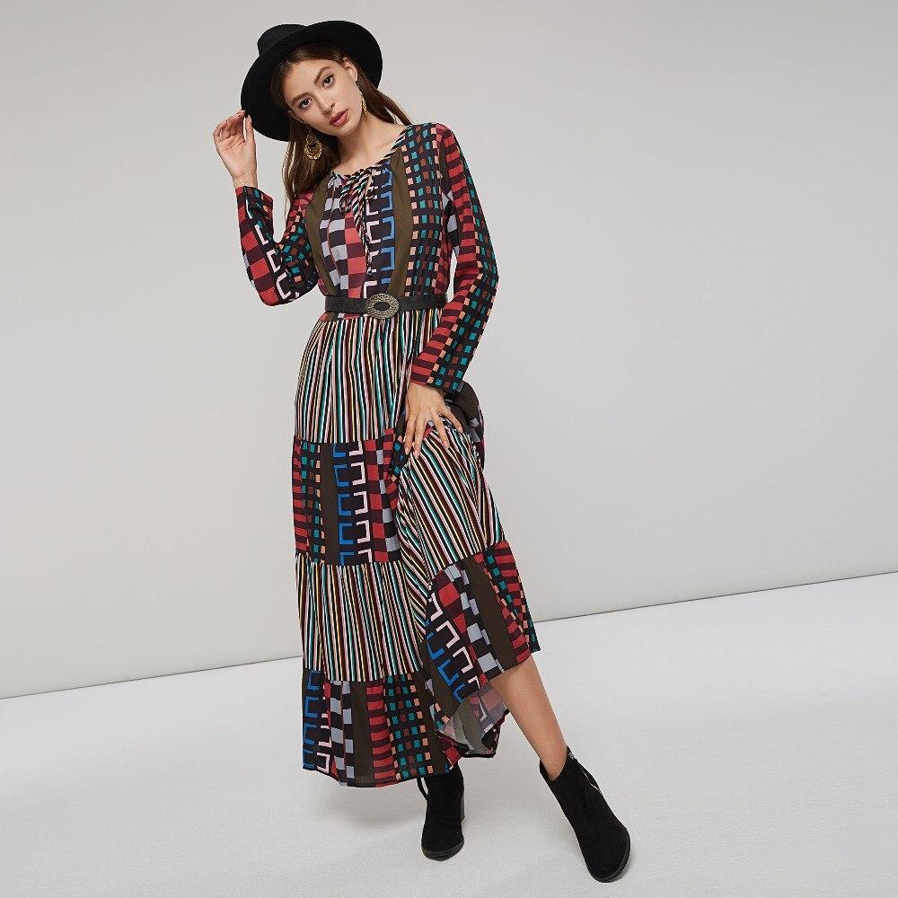 Bohoartist Boho Classic Print Long Dresses Women 2018 Ladies Casual Vacation Loose Straight Colorful Striped Plaid Maxi Dress