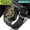 2016 мужчин Водонепроницаемый Спорт военная стиль САНДА шок часы люксовый бренд мода showsmen Смолы Ремешок часы Relogio Masculino