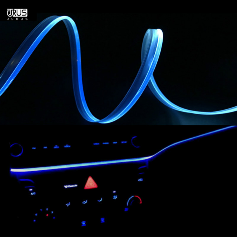 JURUS 1meter Car Ambient light Night Vehicle Guide Interior Lighting Atmosphere Lights Soft Refit Led strip Fiber Optic Lamp for suzuki ignis 2000 2016 car interior ambient light panel illumination for car inside tuning cool strip light optic fiber band