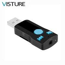 Автомобиля Bluetooth USB Music Receiver AUX адаптер MP3-плеер bluetooth руки свободно телефонных звонков 3.5 мм SD карты Visture BC07