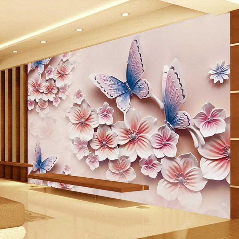 Wall Mural Photo Wallpaper Xxl Flowers Orchids Texture: Custom 3D Wallpaper Modern Relief Butterfly Orchid Flowers