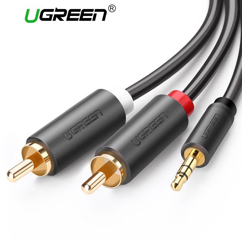 Ugreen 2rca para 3.5mm macho aux cabo banhado a ouro 3.5 jack cabos de áudio rca fone de ouvido aux jack splitter para iphone frete grátis
