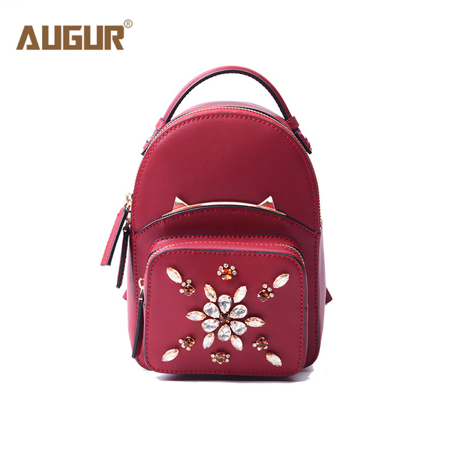 39d666f9b0ba AUGUR Genuine Leather Backpack Women 2017 New Fashion Diamonds Small Mini  Backpack School Bags for Girls