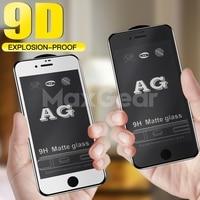 Protector de pantalla mate esmerilado para iPhone 9H 9D, cristal templado AG para iPhone 12, X, XS, 11 Pro, MAX, XR, 8, 7, 6 Plus, 12mini