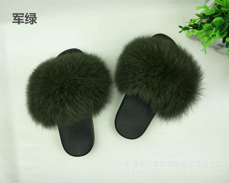99897773d43 Real Fur Slippers Women Fox Home Fluffy Sliders With Feathers Furry ...