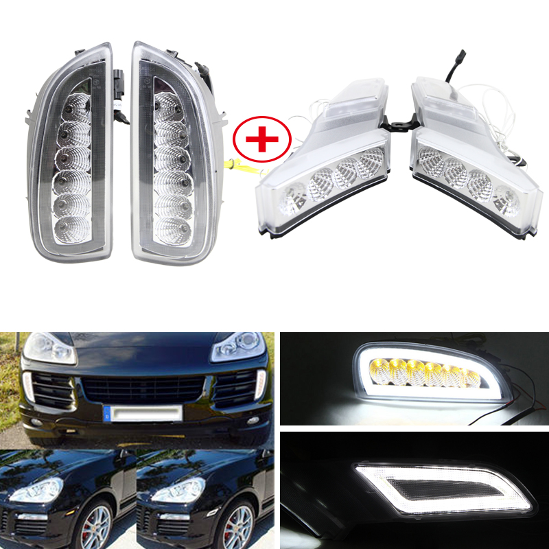 E4 R87 Fits For Porsche Cayenne 07 10 Led Front Bumper DRL Fog Lights W/ Amber Turn Signal Position Lights Car Styling Led Light