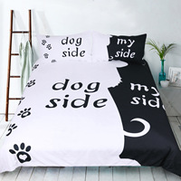 3pcs set Bed linen Duvet cover Pillow case Creative 3D print Cat side My side Dog side Twin Full Queen King Single Double Sizes