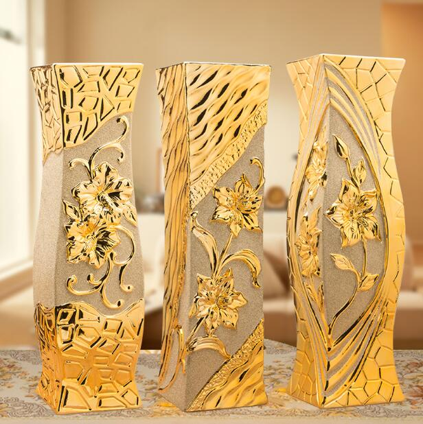 60 cm sol en céramique vase or salon décoration sol vase carré simple moderne européen vase