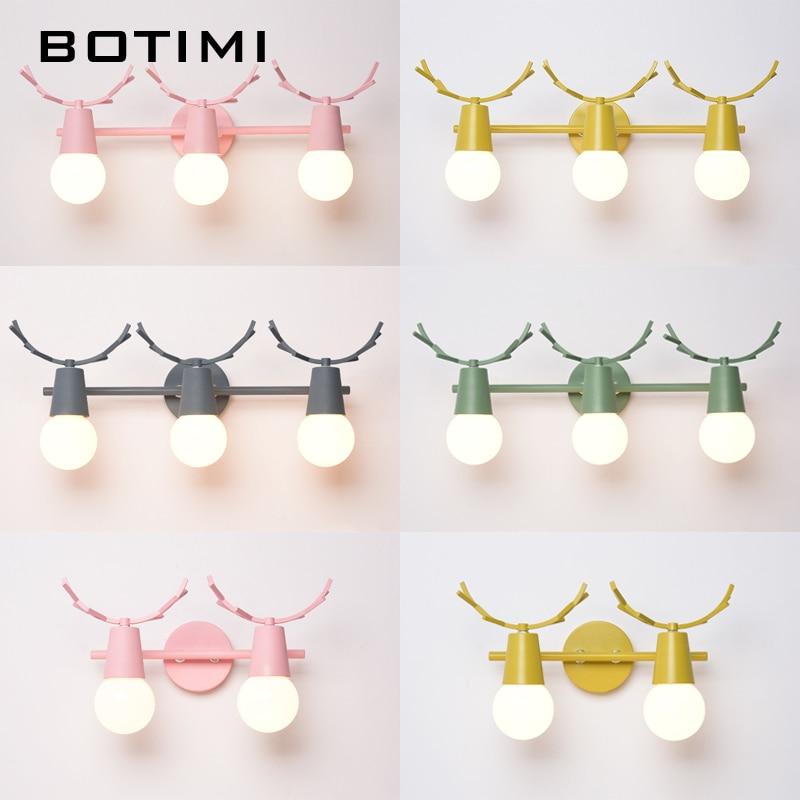 BOTIMI LED Wall Lamp For Bedroom Modern Wall Sconce Pink Luminaira Green Metal Bedside Lights Gray Wall Mount Kitchen Light