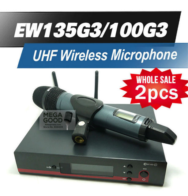 High Quality 2pcs/Lots Professional EW135G3 UHF Wireless Microphone EW 100G3 Wireless System With e835 Handheld Transmitter Mic