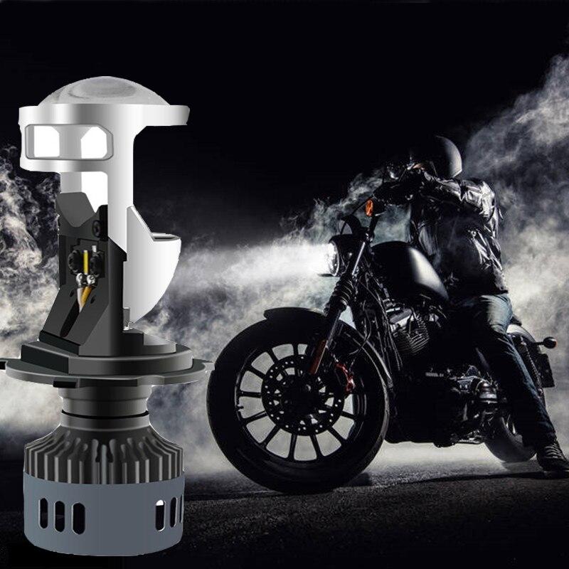 QIPO lumières de voiture H4 phare LED lampe de moto 3000 K 6500 K blanc jaune mini projecteur lentille automobile ampoule Hi/Lo faisceau 12 V