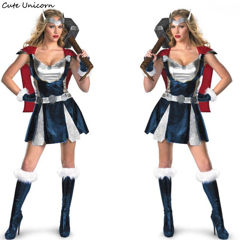 Superhero Women Halloween Sassy Thor Cosplay Costume with Cloak female  Carnival Dress girls sexy outfit Warrior Costumes aa3da89bc