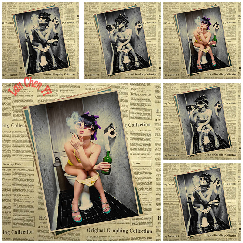 Fashion sexy woman Smoking in the toilet Kraft Paper Poster Office Gift Room Dining Home Decor wall sticker Design