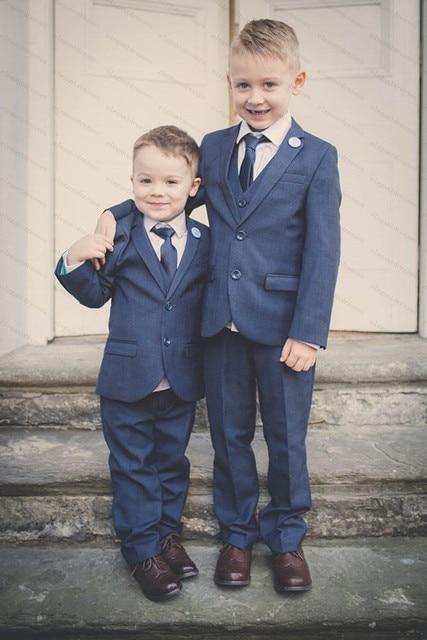 Royal Blue Two Button Boys Suits For Weddings 3 pieces Bruiloft Kids  Wedding Suits Boys Prom 8c2e08beff22