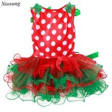 Niosung New Year Christmas Girl Kids Polka Dot Dress Baby Clothing Christmas Party Costume Santa Claus