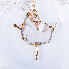 Fashion ballerina crystal keychain trinket rhinestone car key chain bag charm womens ring girls keys cars accessories SS35