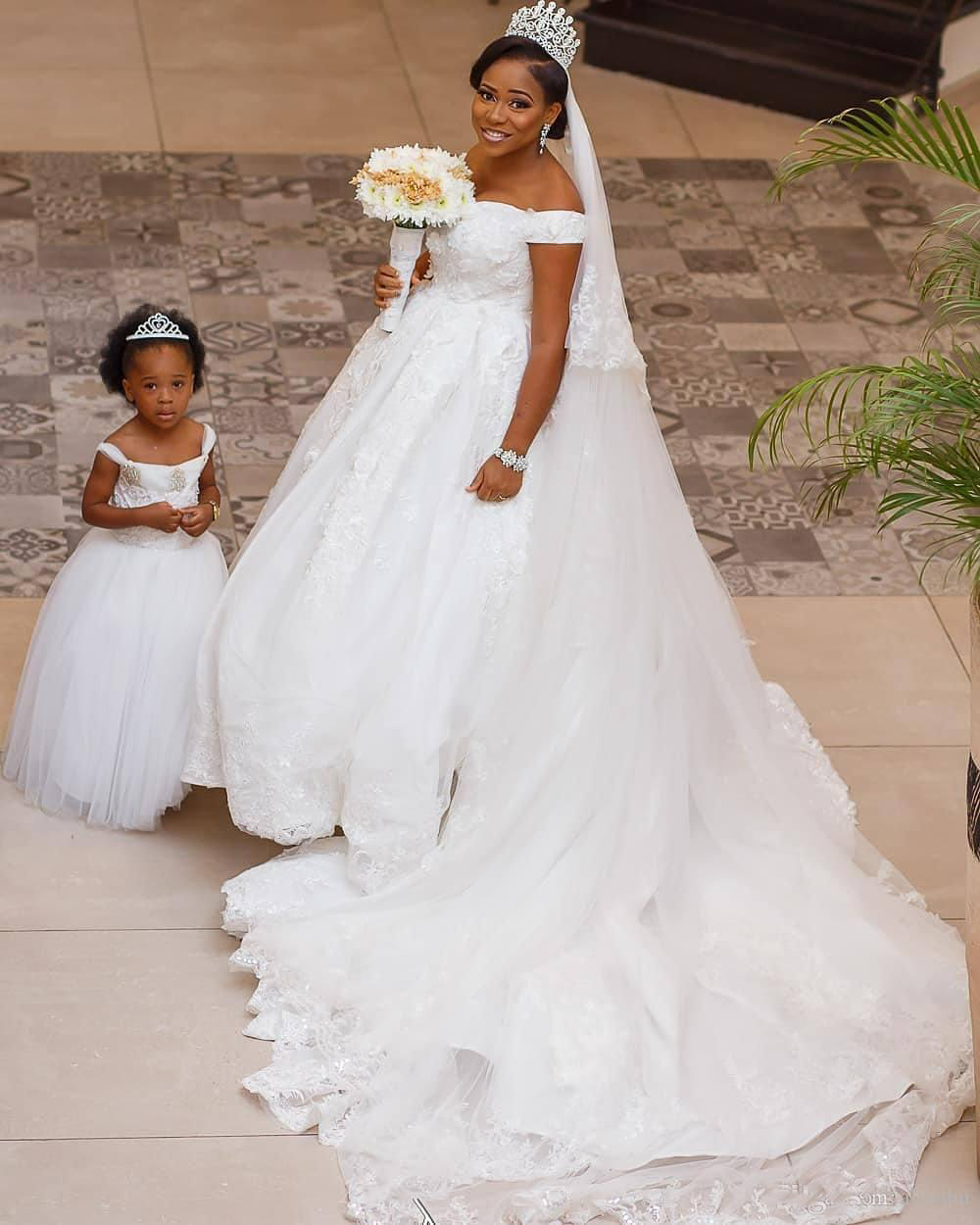 South African Plus Size 2018 Black Girls Lace Wedding