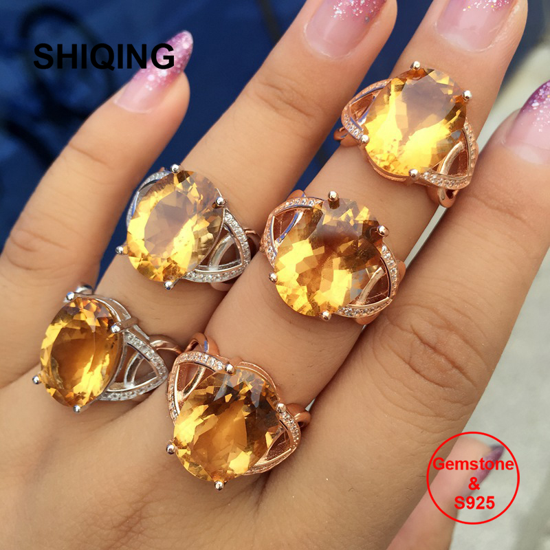 SHIQING Big 12*16mm Gemstone oval citrine yellow color stone 925 sterling silver rings for women
