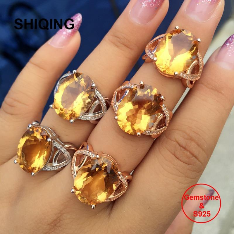 SHIQING grand 12*16mm pierre gemme ovale citrine couleur jaune pierre 925 anneaux en argent sterling pour les femmes